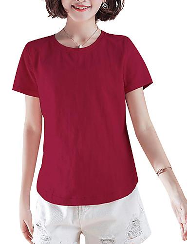 billige Dametopper-Bomull Løstsittende T-skjorte Dame - Ensfarget Chinoiserie Rosa