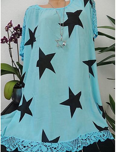 billige Dametopper-Løstsittende Store størrelser Skjorte Dame - Galakse / Grafisk, Blonde / Lapper / Trykt mønster Grunnleggende / Gatemote Svart