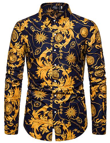 voordelige Herenoverhemden-Heren Standaard Grote maten - bodysuit Bloemen Marineblauw / Lange mouw