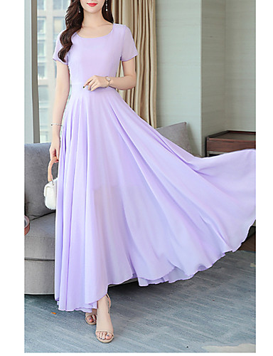 voordelige Maxi-jurken-Dames Street chic Elegant Wijd uitlopend Jurk - Effen, Geplooid Maxi