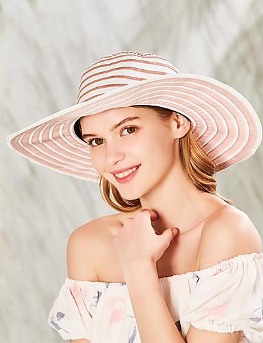 abordables Accessoires Femme-Femme Polyester Basique Chapeau de soleil Rayé Bleu Rose / Blanc Printemps Eté