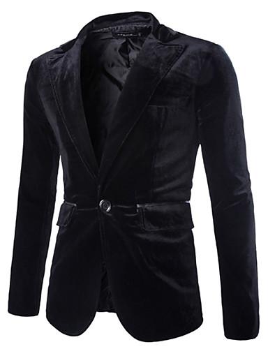 בורגנדי / שחור / סגול אחיד גזרה רגילה פוליאסטר חליפה - פתוח Single Breasted One-button