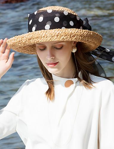 סיב טבעי כובעי קש עם רצועות 1pc קזו'אל / לבוש יומיומי כיסוי ראש