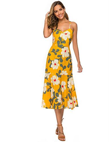 billige Blomstrede mønstre-Dame Gade Swing Kjole - Blomstret, Åben ryg Over knæet