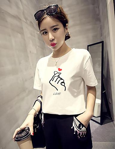 abordables Hauts pour Femme-Tee-shirt Femme, Couleur Pleine Imprimé Basique Blanche