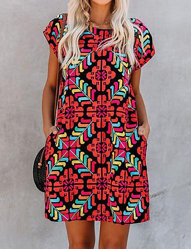 abordables Robes Imprimées-Femme Chic de Rue Punk & Gothique Au dessus du genou Courte Robe - Imprimé, Géométrique Rouge M L XL Manches Courtes