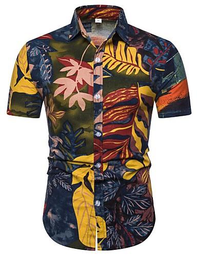 abordables Camisas de Hombre-Hombre Boho Estampado Camisa Floral / Bloques / Gráfico Amarillo US38