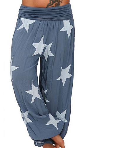 abordables Pantalons Femme-Femme Ample / Actif / Culotte Bouffante Pantalon - Imprimé Taille basse Noir Vert Claire Bleu clair XXXL XXXXL XXXXXL / Grandes Tailles