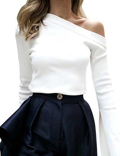 abordables Hauts pour Femmes-Tee-shirt Femme, Couleur Pleine Une Epaule Mince Blanche