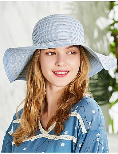 abordables Accessoires Femme-Femme Paille Basique Chapeau de Paille Rayé Bleu Printemps Eté