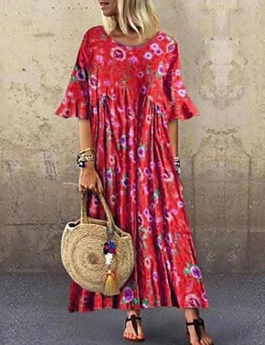 povoljno Ženska odjeća-Žene Osnovni Shift Haljina - Print, Geometrijski oblici Maxi