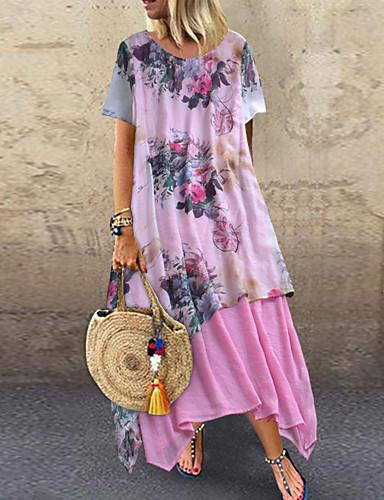 abordables Robes Femme-Femme Grandes Tailles Maxi Gaine Robe - Imprimé, Fleur Eté Vert Rose Claire XXXL XXXXL XXXXXL Manches Courtes