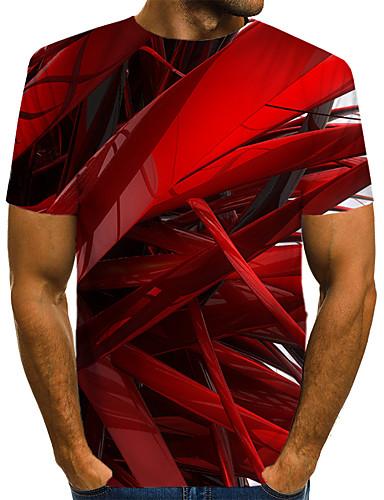 billige Tøffe T-skjorter til herrer-Rund hals EU / USA størrelse T-skjorte Herre - Fargeblokk / 3D / Grafisk, Trykt mønster Gatemote / overdrevet Klubb Rød / Kortermet