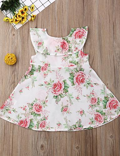 שמלה מעל הברך דפוס פרחוני פעיל / מתוק בנות ילדים / פעוטות / כותנה