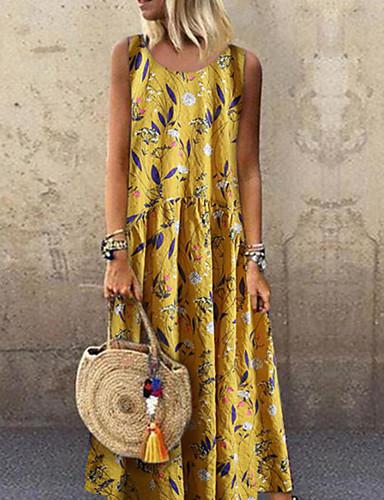 voordelige Maxi-jurken-Dames Street chic Recht Jurk - Bloemen, Print Tot de knie