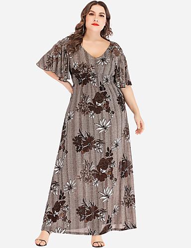 voordelige Grote maten jurken-Dames Standaard A-lijn Jurk - Bloemen, Ruche Print Maxi