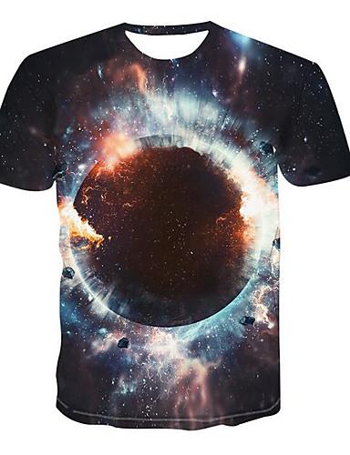 voordelige Heren T-shirts & tanktops-Heren Standaard / Street chic Print T-shirt 3D Ronde hals Zwart / Korte mouw