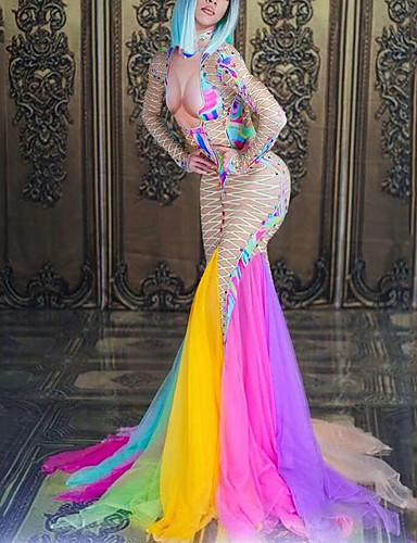 povoljno Egzotična plesna odjeća-Egzotična plesna odjeća Kombinezoni za izlaske Žene Seksi blagdanski kostimi Spandex Akril Bisere / Kombinacija materijala Dugih rukava Haljina