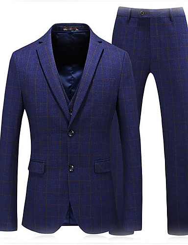 voordelige Herenblazers & kostuums-Heren Pakken Ingesneden revers Polyester blauw / Rood / Grijs / Slank