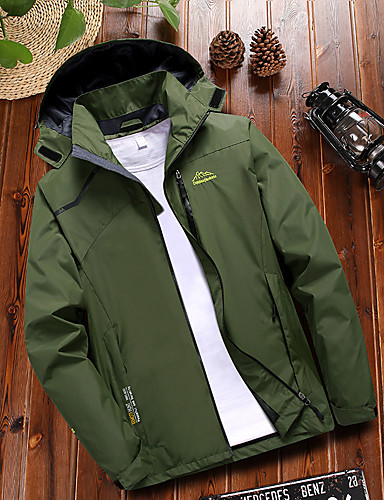39b9fc095c32e Men's Solid Color Hiking Jacket Outdoor Autumn / Fall Spring Waterproof  Windproof Warm Quick Dry Top Climbing Camping / Hiking / Caving Green /  Blue / Grey