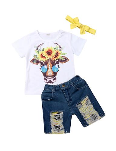 סט של בגדים כותנה שרוולים קצרים חור / דפוס דפוס פעיל / בסיסי בנים תִינוֹק / פעוטות