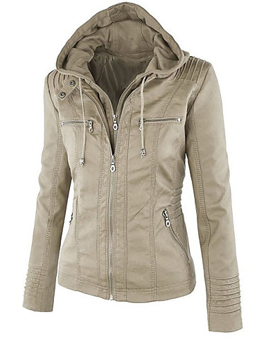 cheap Women's Jackets-Women's Daily Fall & Winter Regular Jacket, Solid Colored Hooded Long Sleeve Faux Leather Black / Beige / Camel