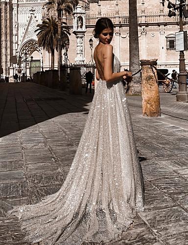 voordelige Maxi-jurken-A-lijn Stomp Hals Hofsleep Chiffon Glitter & Sprankel / Blote rug Jurk met Pailletten door Lightinthebox