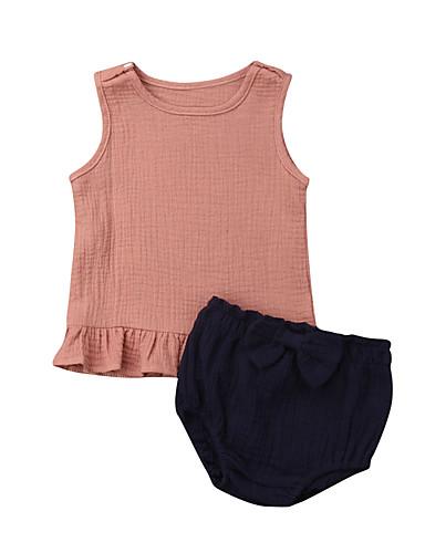 סט של בגדים כותנה ללא שרוולים קפלים אחיד ורד מאובק פעיל / בסיסי בנות תִינוֹק / פעוטות