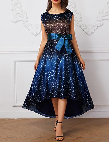voordelige Loop geen blauwtje-Dames Elegant Wijd uitlopend Jurk - Polka dot Asymmetrisch