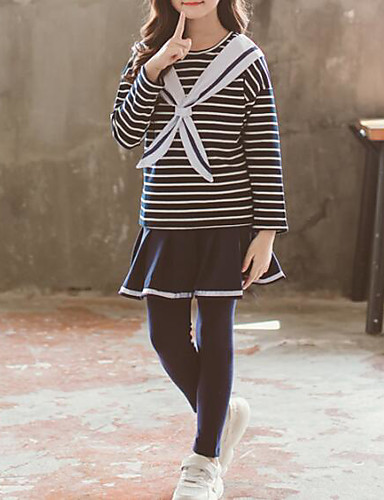 סט של בגדים כותנה שרוול ארוך אחיד / פסים בסיסי / סגנון סיני בנות ילדים