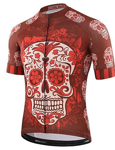 cheap Cycling Clothing-Men's Short Sleeve Cycling Jersey Red and White Skull Bike Top Quick Dry Sports Terylene Clothing Apparel / Micro-elastic