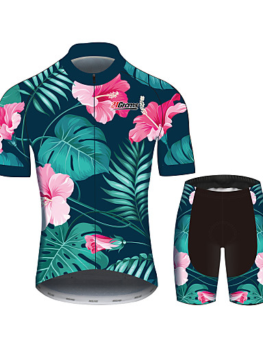 2c177a732fba8 levne Cyklistické oblečení-21Grams Pánské Krátký rukáv Cyklodres Tmavě  zelená Květiny Kolo Dres Vrchní část