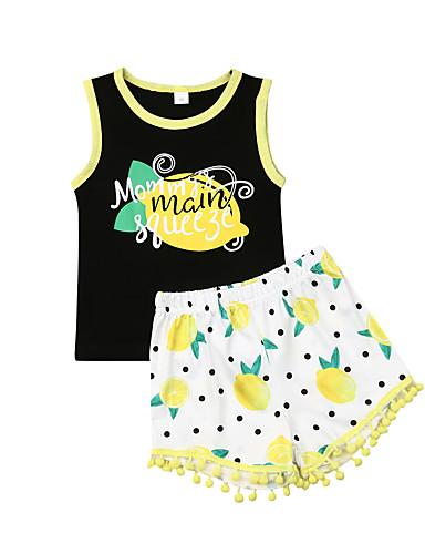 סט של בגדים כותנה ללא שרוולים פרנזים / דפוס פירות פעיל / בסיסי בנות ילדים / פעוטות