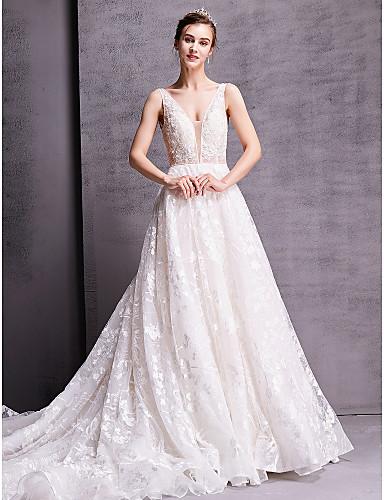 baratos Vestidos de Casamento 2019-Linha A Decote V Cauda Capela Renda Vestidos de casamento feitos à medida com de LAN TING BRIDE® / Sem costas
