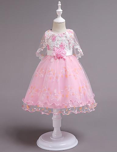 נסיכה באורך  הברך שמלה לנערת הפרחים  - כותנה / סאטן / טול ללא שרוולים עם תכשיטים עם חרוזים / אפליקציות / תחרה על ידי LAN TING Express