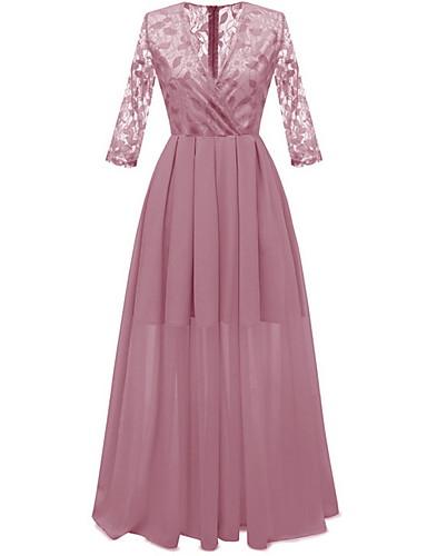 baratos Vestidos Longos-Mulheres Elegante Evasê Vestido - Renda, Sólido Longo