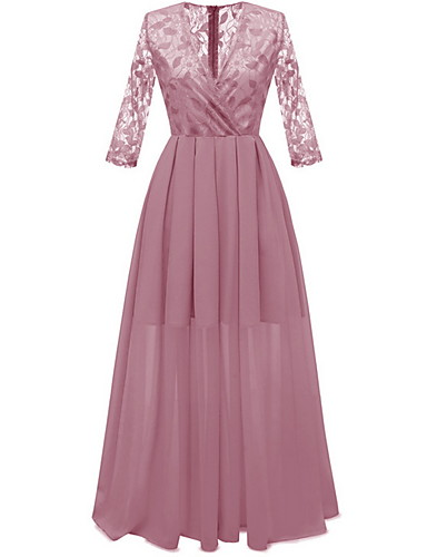 5827d377 billige Kjoler-Dame Elegant A-linje Kjole - Ensfarvet, Blonder Maxi