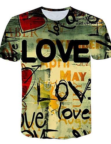 voordelige Heren T-shirts & tanktops-Heren Standaard / overdreven Print T-shirt Kleurenblok / 3D / Letter Klaver XXXXL