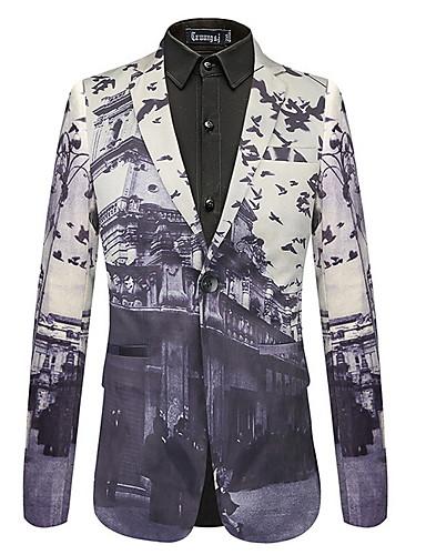 voordelige Herenblazers & kostuums-Heren Blazer, Geometrisch Overhemdkraag Polyester Grijs / Slank
