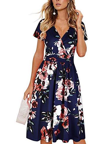 cheap Women's Dresses-Women's A Line Dress - Floral Black Navy Blue M L XL