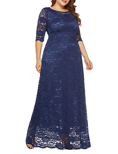 voordelige Maxi-jurken-Dames Grote maten Feestdagen Uitgaan Vintage Street chic Ruimvallend Chiffon Jurk - Effen, Kant Maxi Hoge taille / Hoge taille