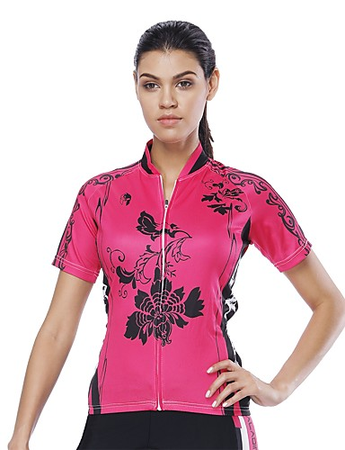 cheap Cycling Clothing-ILPALADINO Women's Short Sleeve Cycling Jersey Peach Bike Jersey UV Resistant Sports 100% Polyester Clothing Apparel
