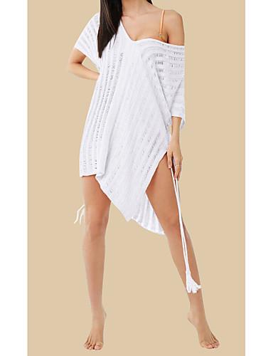 083a04a402 Women's Basic White Beige Bandeau Cover-Up Swimwear - Geometric One-Size  White