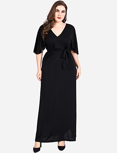 abordables Robes Femme-Femme Basique Maxi Trapèze Robe - Lacet, Couleur Pleine Noir XXXXL XXXXXL XXXXXXL Manches Courtes