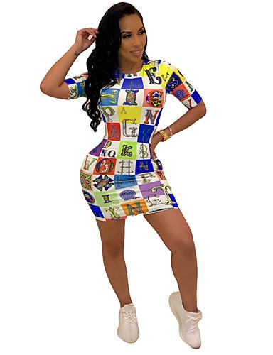 a198bc79b فستان نسائي ثوب ضيق أساسي أناقة الشارع طباعة فوق الركبة هندسي أحرف