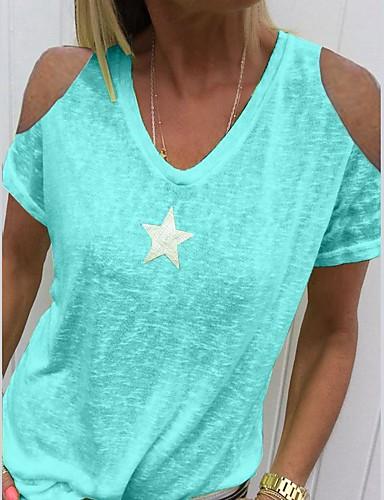 billige Dametopper-V-hals T-skjorte Dame - Ensfarget Grå