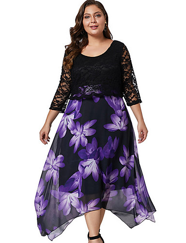 זול שמלות נשים-מידי תחרה, פרחוני - שמלה סווינג בגדי ריקוד נשים