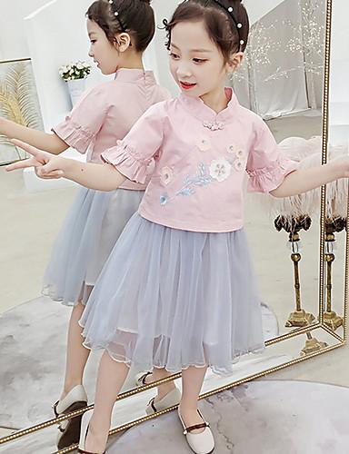 גזרת A באורך  הברך שמלה לנערת הפרחים  - כותנה שרוולים קצרים עם תכשיטים עם עלי כותרת על ידי LAN TING Express