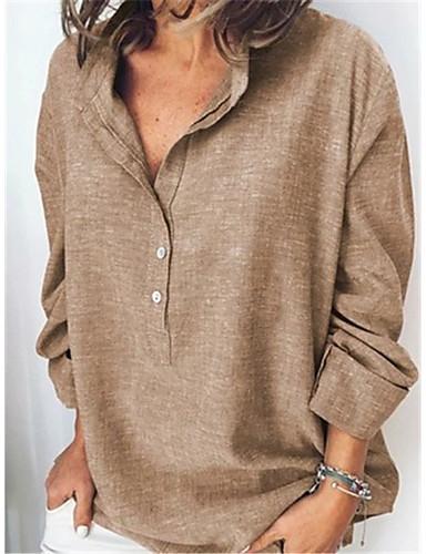 billige Topper til damer-Løstsittende Skjorte Dame - Ensfarget Grunnleggende Grå