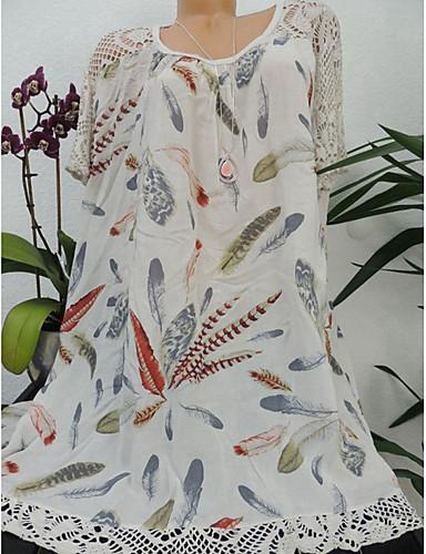 abordables Hauts pour Femmes-Chemise Grandes Tailles Femme, Fleur Imprimé Basique / Chinoiserie Ample Beige